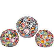 As Is Set of 3 Kaleidoscope Gem Spheres by Valerie - H209363