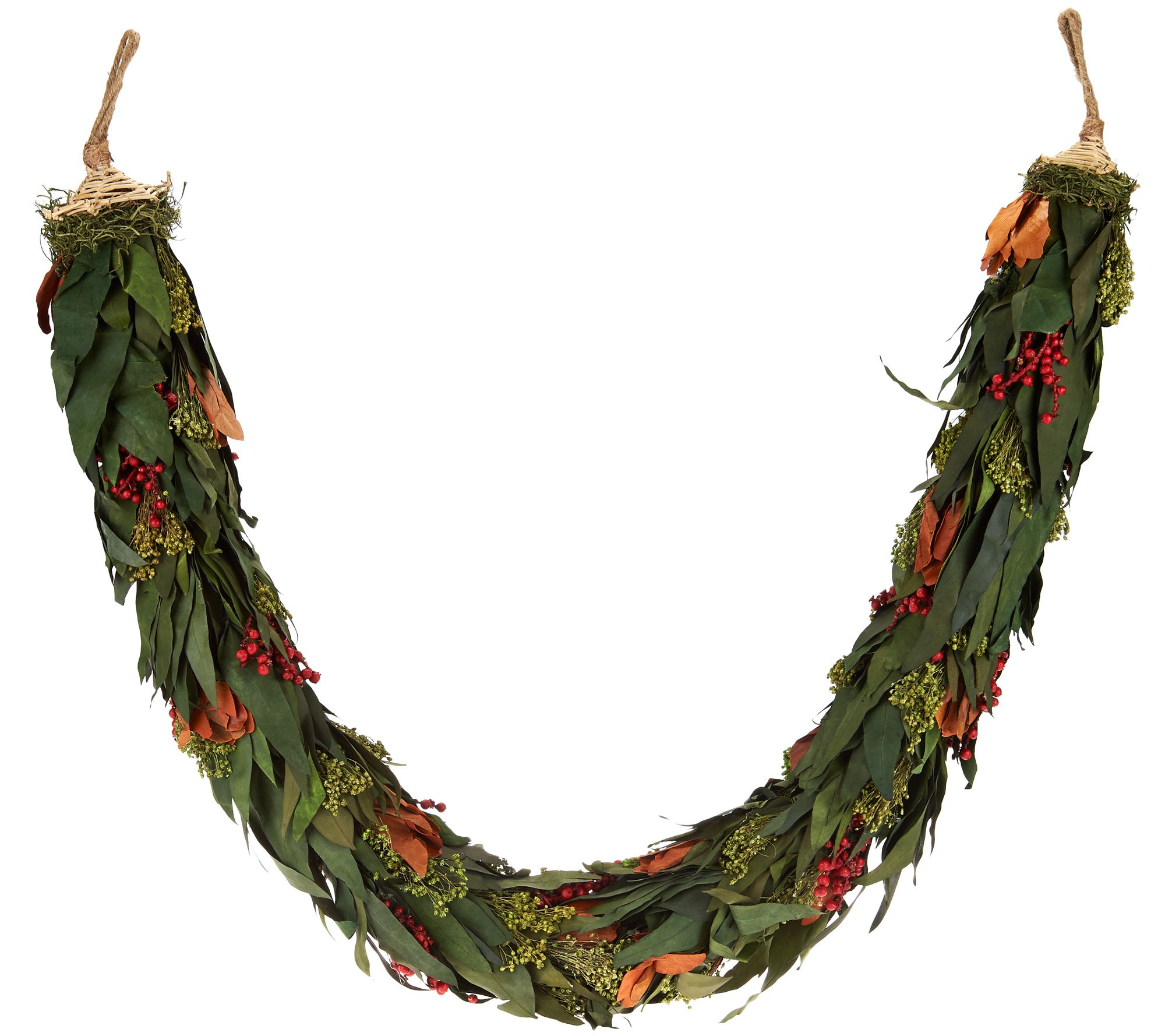 Bethlehem lights wreath battery operated - Ed On Air Magnolia And Berry Preserved Garland By Ellen Degeneres H209663