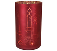 As Is Lit Frosted Glass Cylinder with Etched Motif by Valerie - H210363