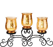As Is Iron Scroll Centerpiece with 3 Glass Hurricanes - H210963
