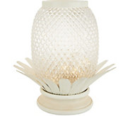 10 Illuminated Glass Pineapple w/ Metal Accents by Valerie - H214763