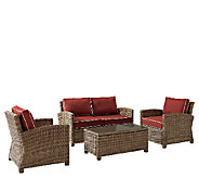Crosley Bradenton 4-Piece Wicker Set w/Table Chairs & Cushion - H286663