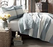 Berlin Stripe Blue 3-Piece Full/Queen Quilt Set by Lush Decor - H287263
