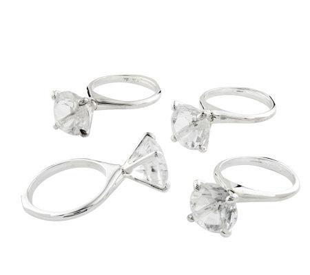 Silvertone Crystal Engagement Ring Set Of4 Napkin Rings
