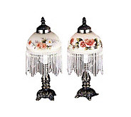 Meyda Tiffany Styled Lamp with Painted Shade &Glass Fringe - H66363