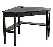 Lawrence Black Finish Corner Desk with KeyboardDrawer - H155564