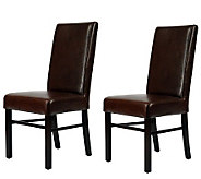 Set of Two Plush Bicast Leather and Birchwood Side Chairs - H183564