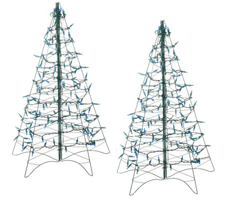 S 2 Pre Lit 3 Fold Flat Outdoor Christmas Trees By Lori