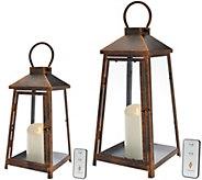 Luminara Hampton Indoor Outdoor Lantern with Flameless Candle & Remote - H207664