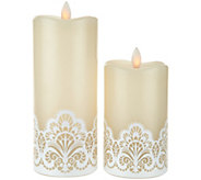 Set of 2 Mirage Candles with Lace Design by Candle Impressions - H210164