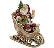 Glittered Cheerful Santa in Sleigh with Scroll Accents by Valerie - H211664