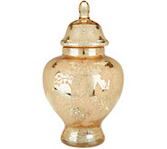 As Is 12 Etched Mercury Glass Apothecary Jar w/ Microlights - H213864