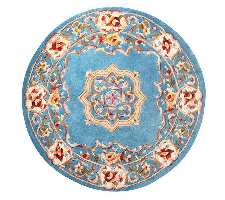 "Royal Palace Elegant Medallion 4'6"" Round Wool Rug - H199865"