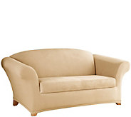 Sure Fit Stretch Suede Loveseat 2 Piece Slip Cover - H208065