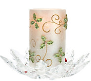 As Is Flameless Glitter Candle w/ Holly Glass Base by Valerie - H208365