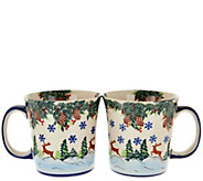 Lidias Polish Pottery Handmade Set of 2 Mugs - H208865
