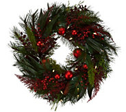 ED On Air 24 Mixed Pine Wreath w/ Ornaments by Ellen DeGeneres - H209565