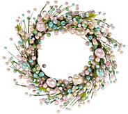 17 Pastel Beaded Egg Wreath - H210865