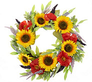 22 Sunflower, Poppy and Lavender Wreath by Valerie - H213565