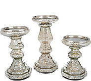 As Is Set/3 Illuminated Mercury Glass Candle Holder Pedestals - H213865