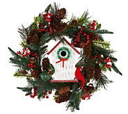 22 Holiday Floral Wreath with Birdhouse by Valerie - H204966