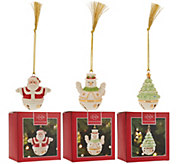 Lenox Set of 3 Porcelain Sleigh Bell Ornaments with Gift Boxes - H208466