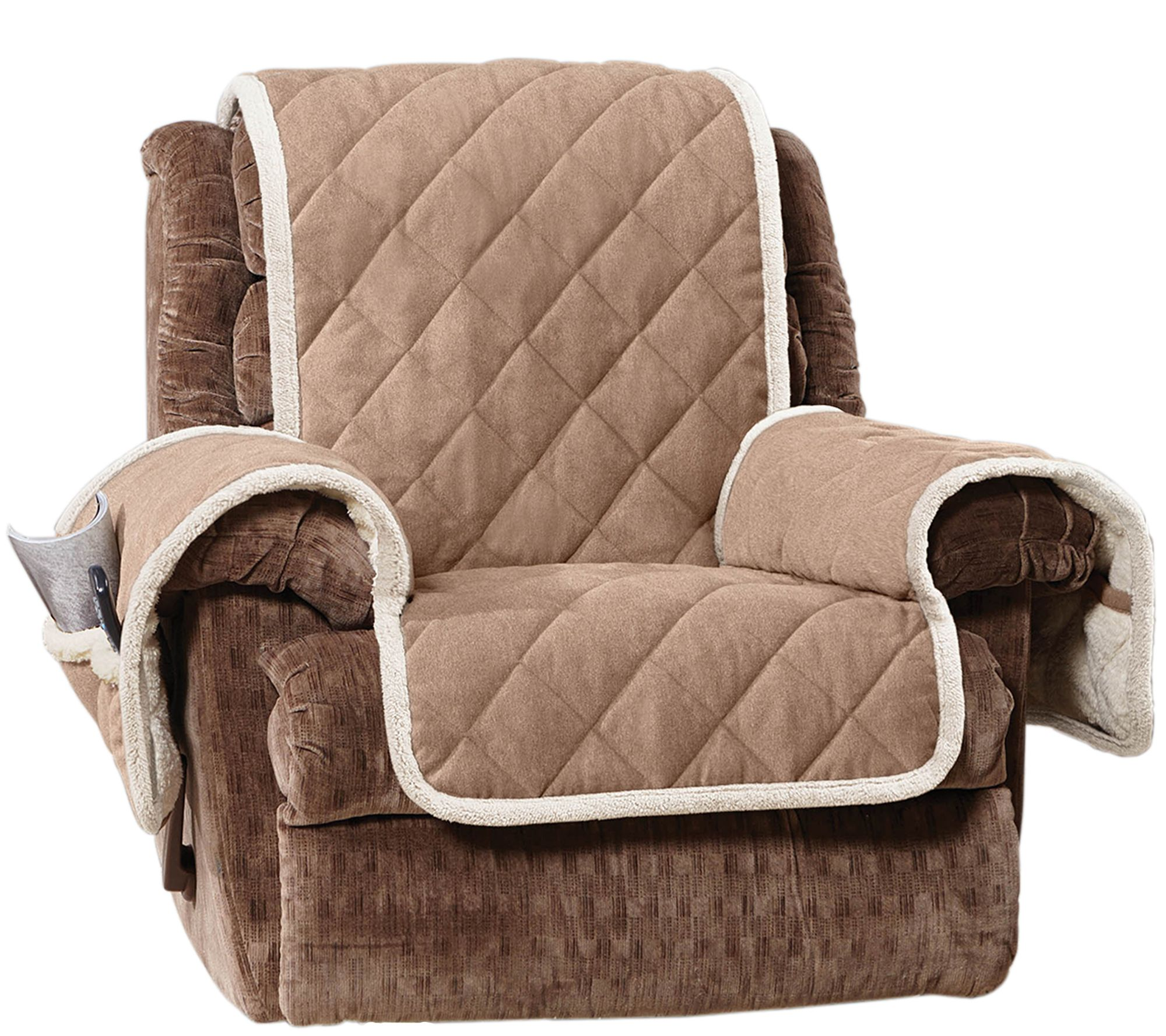 Bob Mackie Furniture Sure Fit Reversible Suede To Sherpa Recliner Furniture  .