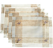 Charles Gallen Set of 4 Woven Placemats with Embroidery - H210966
