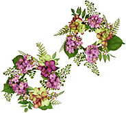 As Is Set of 2 10 Hydrangea and Berry Ring by Valerie - H212466