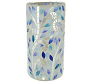 As Is 10 Mosaic Vine Glass Cylinder w/ Microlights and Timer - H212766