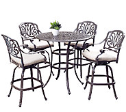 Home Styles Outdoor Floral Blossom Taupe 5-Piece Bistro Set - H284366