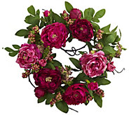 20 Peony & Berry Wreath by Nearly Natural - H295566