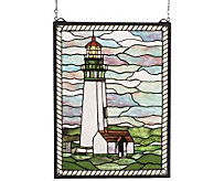 Tiffany Style Yaquina Head Lighthouse Window Panel - H123567