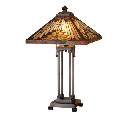 tiffany style southwest mission table lamp. Black Bedroom Furniture Sets. Home Design Ideas