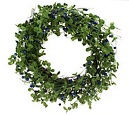 20-inch Berry Wreath w/ Eucalyptus Leaves by Valerie - H202167