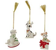 Lenox Set of 3 Porcelain Christmas Critter Ornaments - H205967
