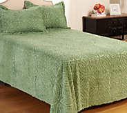 Wedding Ring Chenille 100Cotton Queen Bedspread with Shams - H207667
