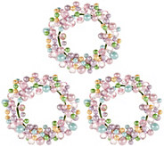 Set of 3 Pastel Beaded Egg Candle Rings - H210867