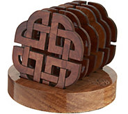 Monson Set of 6 Wooden Coasters with Holder - H210967