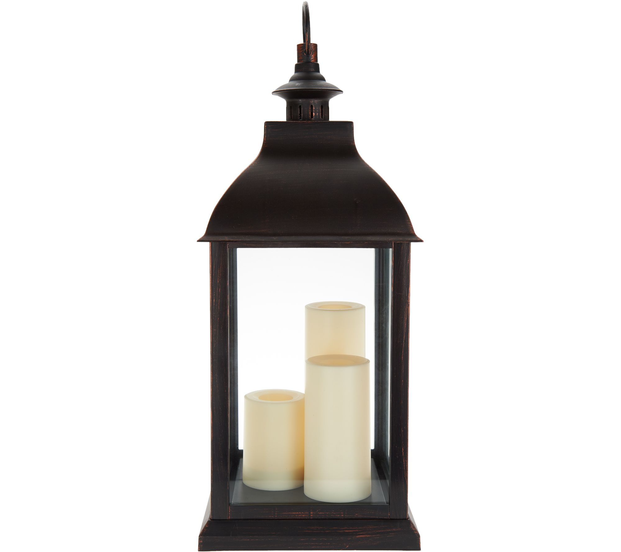 Candle Impressions Large Indoor/ Outdoor Lantern with 3 Candles - Page 1   QVC.com