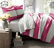 Berlin Stripe Hot Pink 2-Piece Twin Quilt Set by Lush Decor - H287267