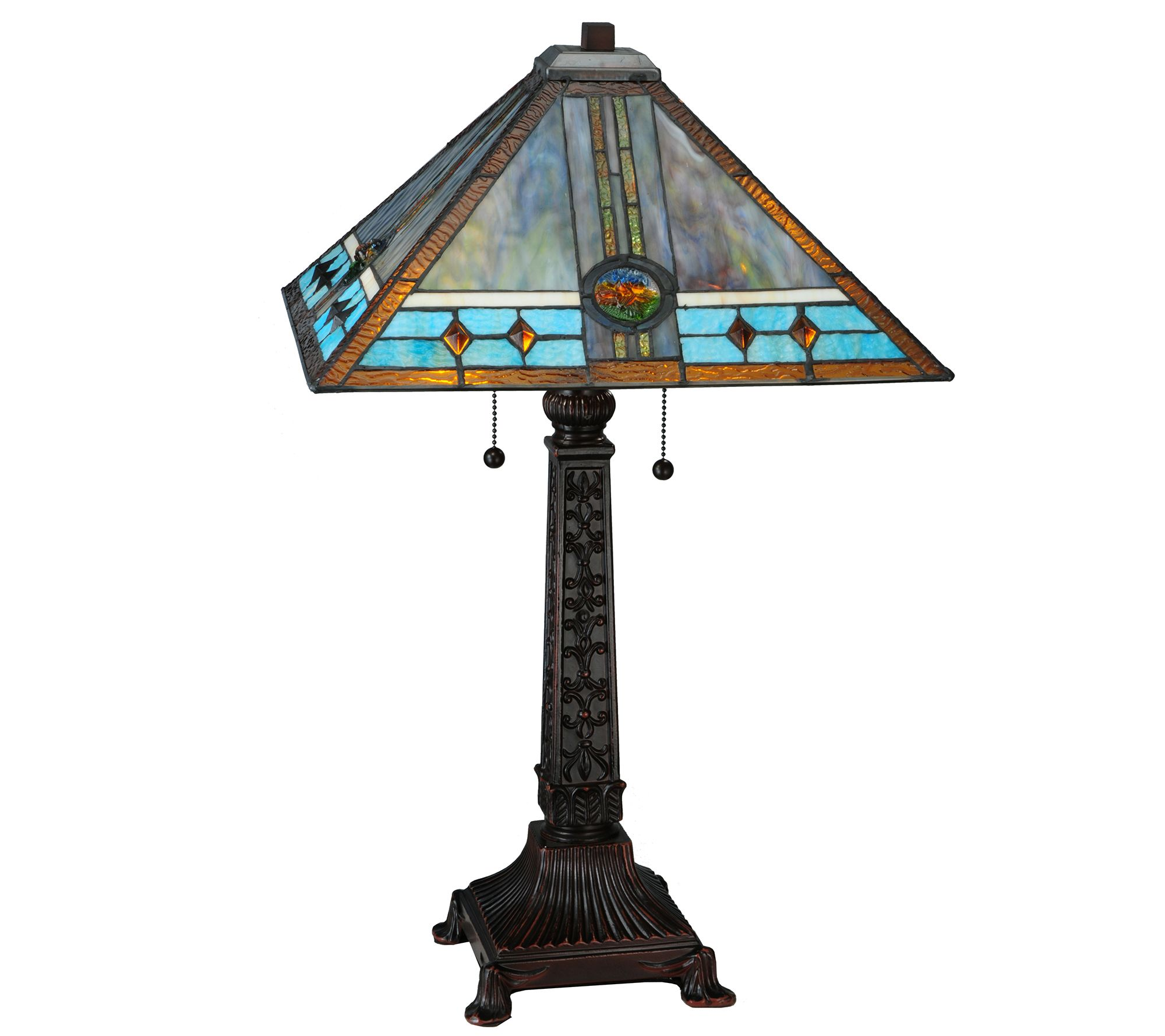 Meyda tiffany style mission rose table lamp qvccom for Tiffany floor lamp qvc