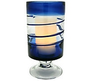 Home Reflections Flameless 10 Colored Glass Footed Hurricane - H348967
