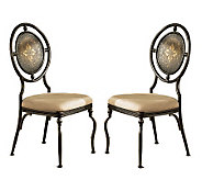 Powell Basil Set of 2 Antiqued Brown Dining Side Chairs - H354367