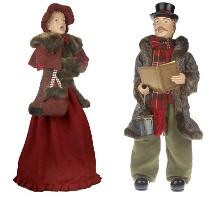 "Set of 2 33""-35"" Dickens Adult Carolers by Valerie"
