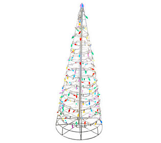 4 Pre-Lit Collapsible Outdoor Christmas Tree with LED ...