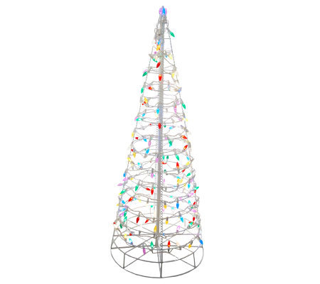 4' Pre-Lit Collapsible Outdoor Christmas Tree with LED Lights