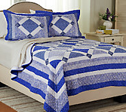 Blue Bell King 100Cotton Quilt Set with Shams - H205868