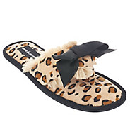 As Is Dennis Basso Faux Fur Animal Print Slipper Sandals with Bow - H207168