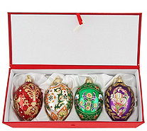 Joan Rivers 2016 Set of 4 Russian Inspired Egg Oranments - H208568